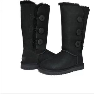 Ugg Black Bailey Triple Button Sheepskin Boots